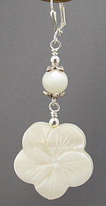 Wedding White Flower Earrings Silver Jewelry