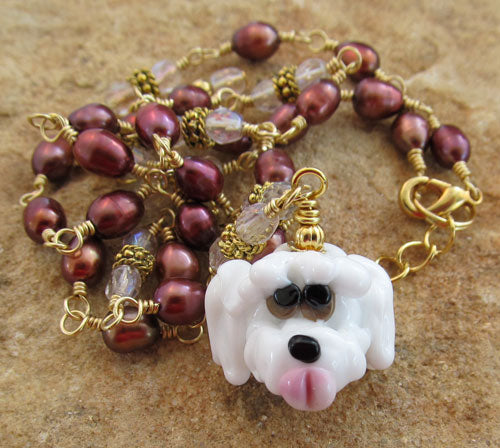 Sweet White Dog Necklace Pearl Crystal Jewelry
