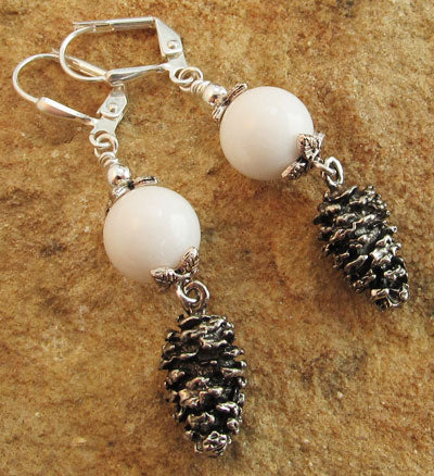 Snow in the Mountains Silver Pinecone Earrings