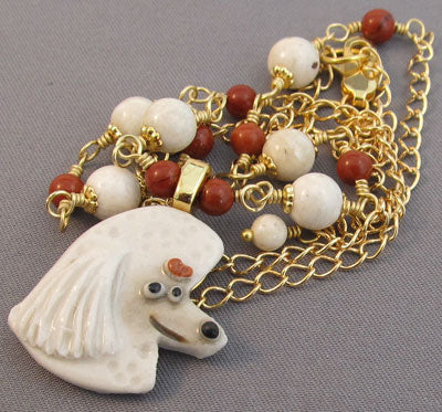 Poodle Dog Necklace White Red Gold Jewelry Handmade