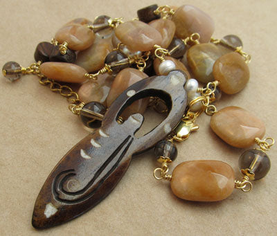 Fertility Necklace Carved Wood Goddess Moonstone Jewelry