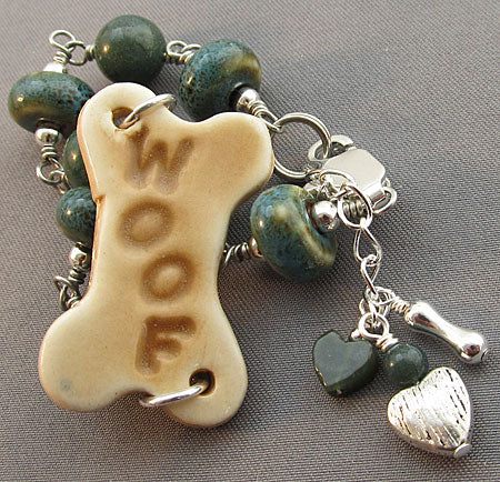 Dog Lover Jewelry Woof Bracelet Dark Teal Blue
