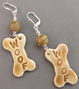 Woof Dog Lover Silver Earrings