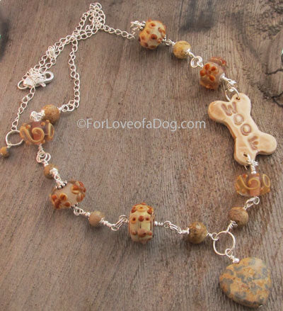 Woof Dog Bone Necklace Caramel Lampwork Silver