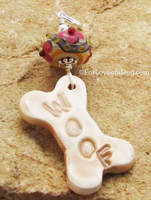 Woof Dog Bone Pendant Fancy Pink Lampwork Silver Jewelry