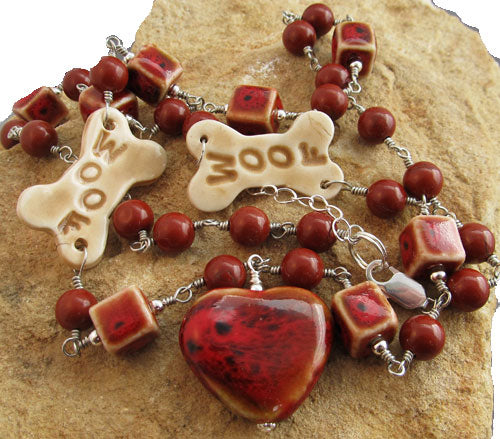 Woof Dog Lover Red Heart Necklace Silver Jewelry