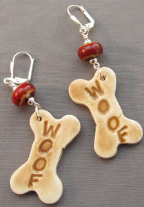 Woof Dog Bone Earrings Red Porcelain
