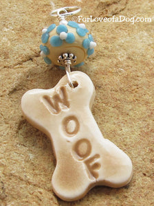 Woof Dog Bone Pendant Turquoise Flower Lampwork on Silver