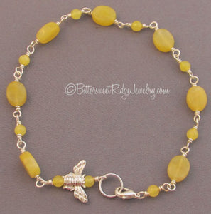Be Brave Honey Bee Ankle Bracelet Sunshine Yellow Jade