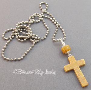 Yellow Cross Necklace Mookaite Jasper Pendant Unisex