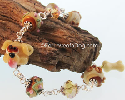 Yellow Puppy Dog Bone Bracelet Chunky Artisan Lampwork Jewelry
