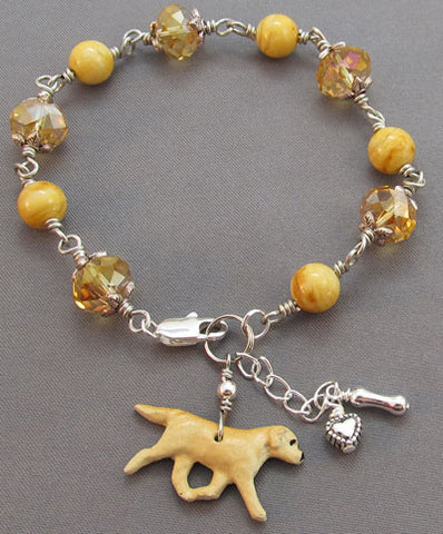 Yellow Lab Dog Bracelet Crystal Jasper Silver Heart Bone