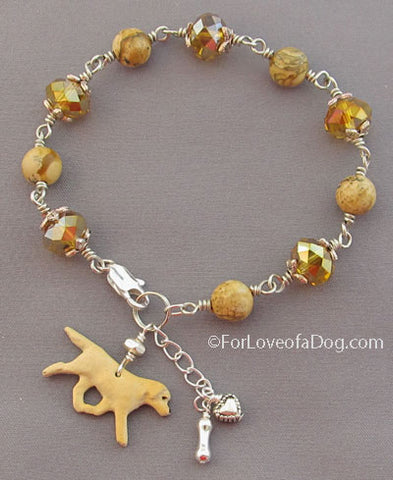 Yellow Labrador Retriever Dog Bracelet Amber Crystals Handmade Jewelry