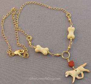 Yellow Lab Dog Bone Necklace Red Heart Handmade