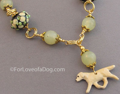 Yellow Labrador Retriever Dog Necklace Jade Lampwork