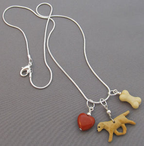 Yellow Labrador Retriever Dog Charm Necklace Red Heart Bone