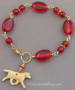 Yellow Labrador Retriever Dog Bracelet Red Gold Handmade Jewelry