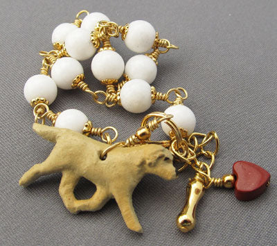Yellow Labrador Retriever Dog Bracelet White Gold Handmade Jewelry