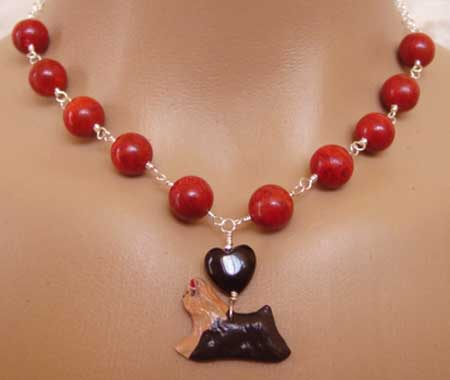 Yorkshire Terrier Dog Jewelry Necklace Big Fat Red Coral Silver