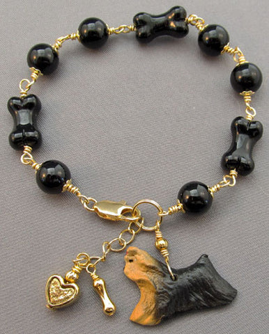 Yorkie Dog Breed Jewelry Bone Bracelet Gold Handmade