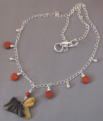 Yorkshire Terrier Dog Lover Necklace Red Hearts Handmade Jewelry