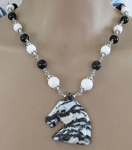 Equestrian Necklace Earrings Set Classic Black White