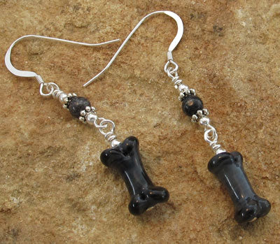 Black Dog Bone Earrings Zebra Jasper Artisan Lampwork