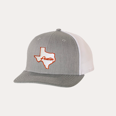 State Of Texas / Austin / Heather Grey - White / Curved Bill
