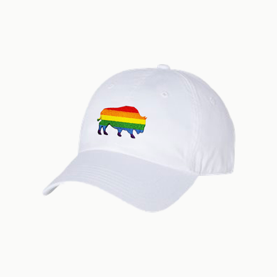 Last Stand Pride Bison /  White Dad Hat / Curved Bill