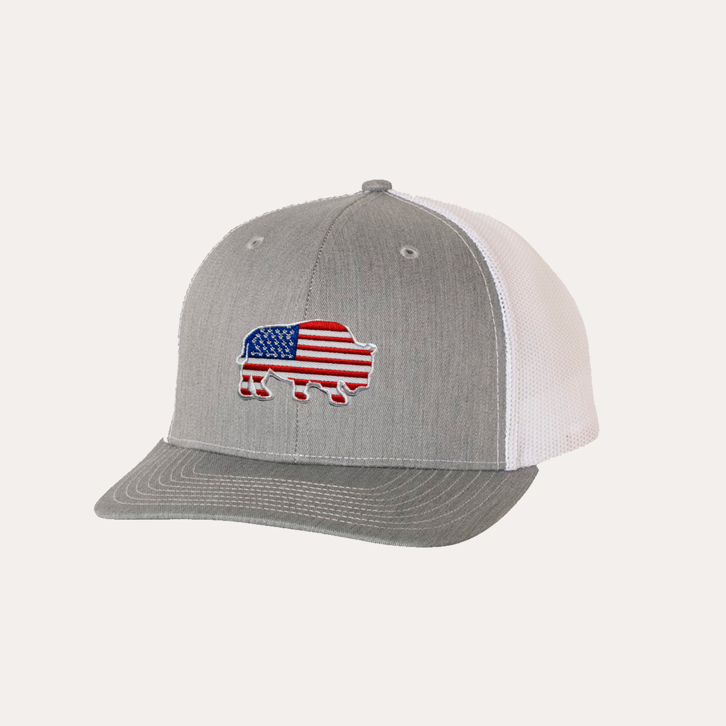 Last Stand Bison American Flag / Heather Grey - White / Curved Bill