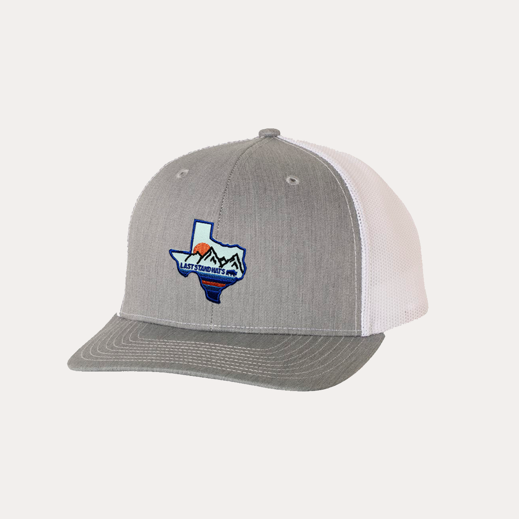 Last Stand Texas Mountains Blue / Heather Grey - White / Curved Bill