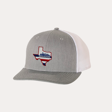 Houston Texas / Heather Grey - White / Curved Bill