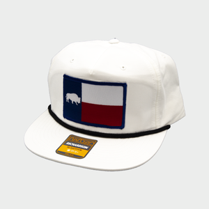 Last Stand Texas Flag  / White Rope Hat  / Flat Bill