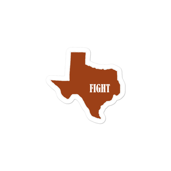 Bubble-free Texas Fight stickers.