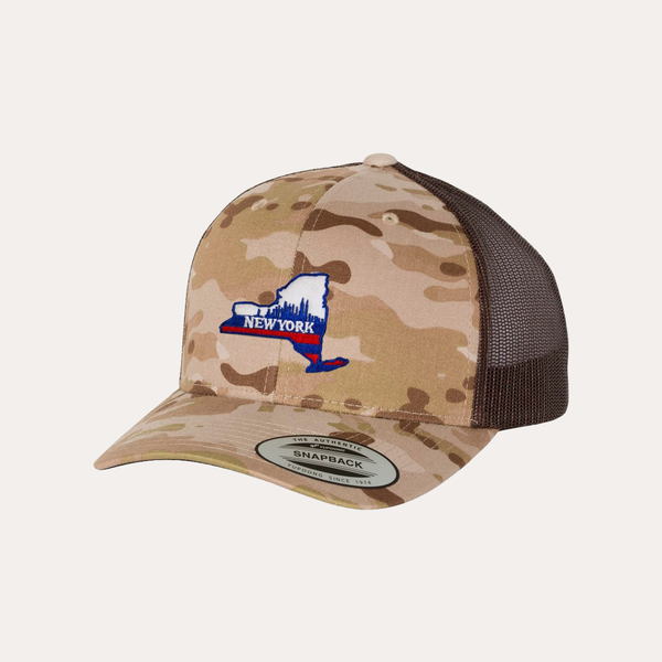 The Fan Series / New York Blue / Tan Camo - Brown / Curved Bill