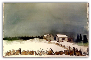 WINTER BARNS ON THE 17TH, Original Art by Hilary Slater