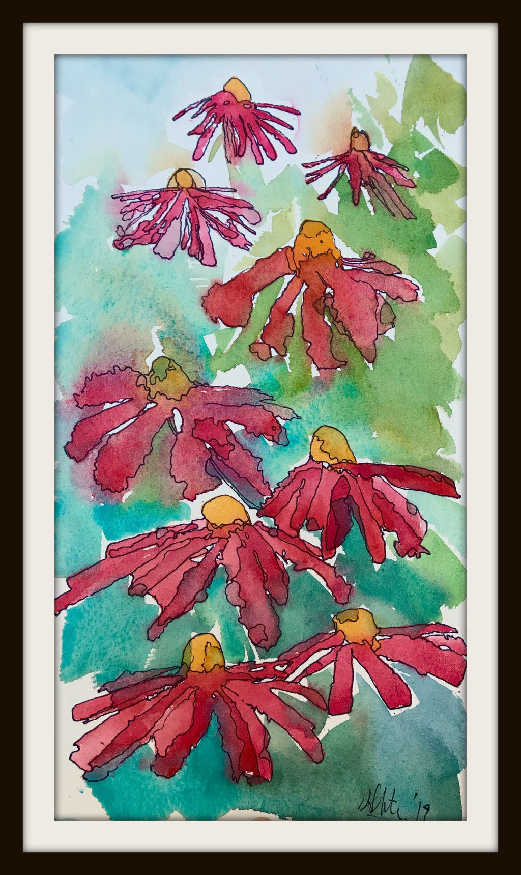 IRIS AND ECHINACEA (Life of a Beekeeper) , Original Art by Hilary Slater
