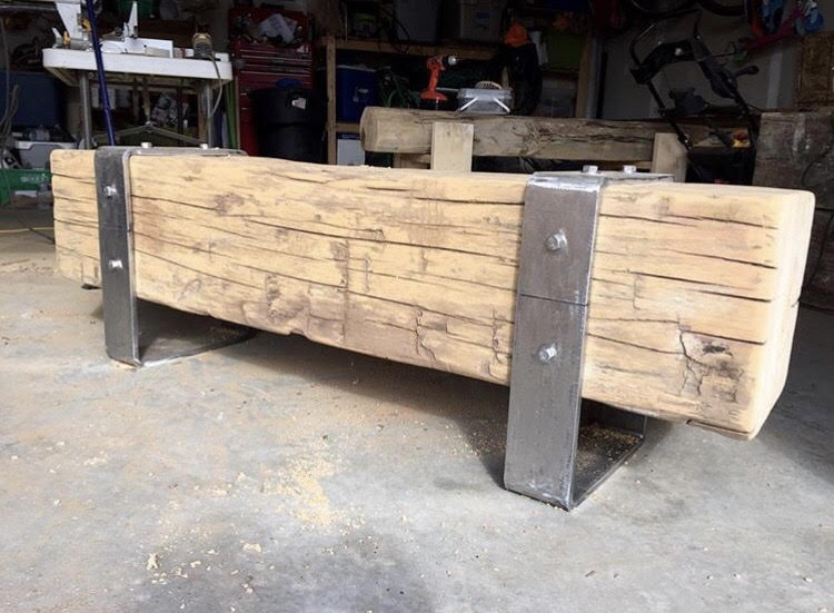 HEMLOCK BEAM BENCH, Rustic Vibe by Edward Piva