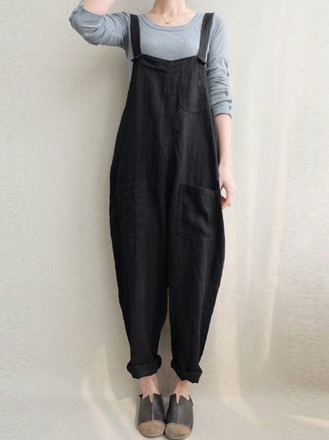 Women's Bib Cargo Overalls Harem Pockets Cotton Jumpsuit