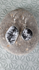 BLACK / WHITE / LARCH BRANCHES, Earrings by Karen Cameron