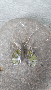 GREEN MIX VEINED FLORAL ABSTRACTION, Earrings by Karen Cameron