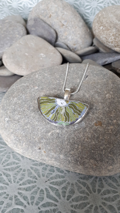 GREEN MIX VEINED FLORAL ABSTRACTION, Pendant by Karen Cameron
