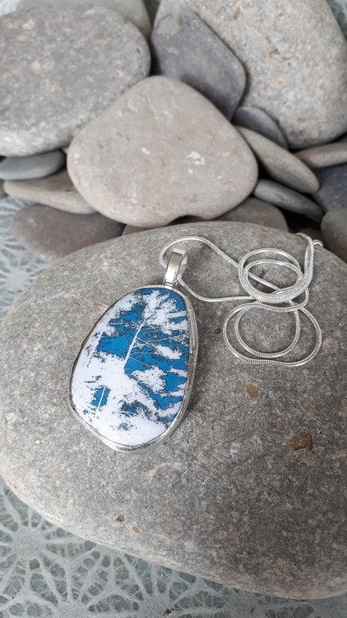 TURQUOISE / WHITE / COTTAGE PINES, Pendant by Karen Cameron