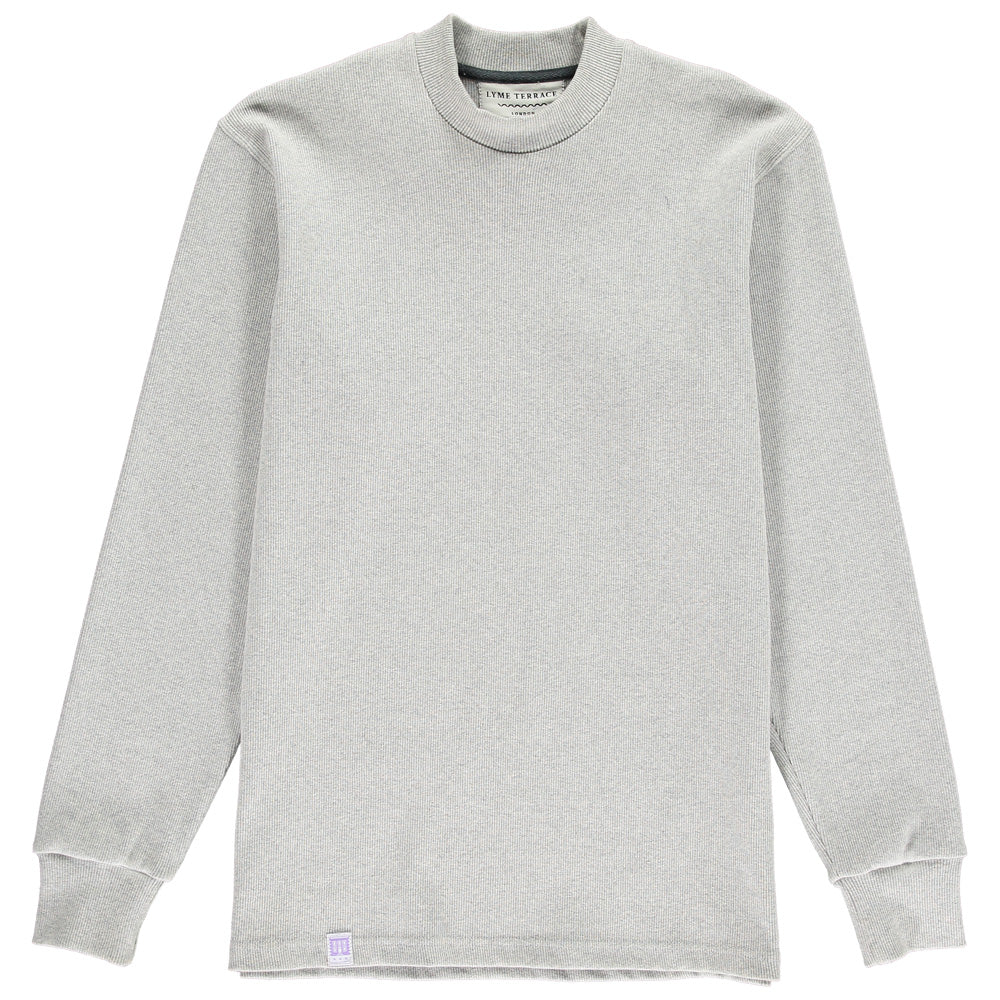 Grey Organic Rib Mock Neck