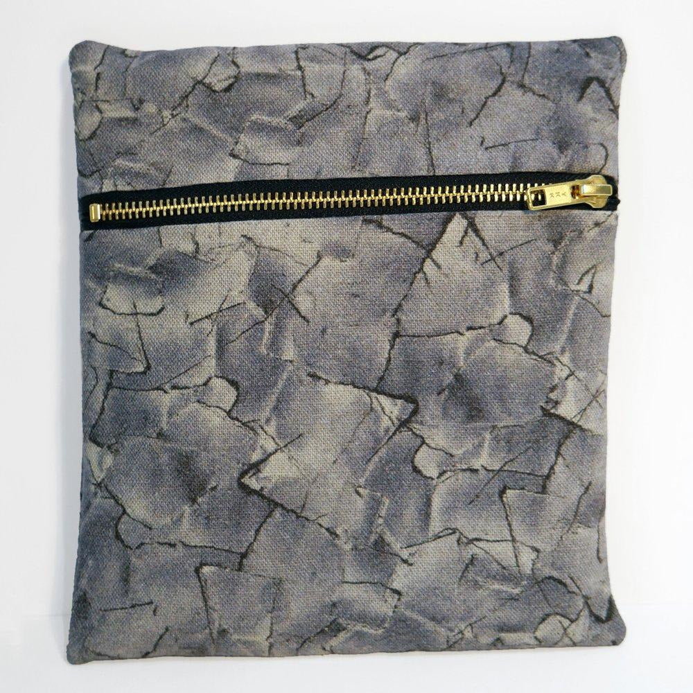 Grey Patched Flat Bag