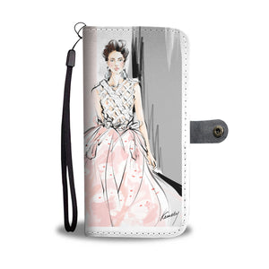 "Custom Designed Wallet Case - ""Pink Dress"" - Kemsky Art"