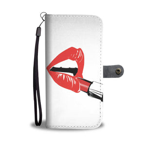 "Custom Designed Wallet Case - ""Red Lips"""