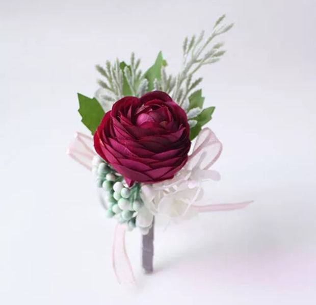 Burgundy Artificial Boutonniere