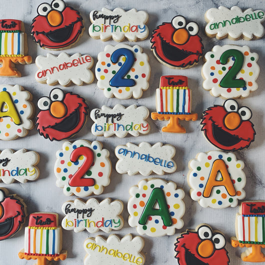 Custom decorated sugar cookies for birthday parties