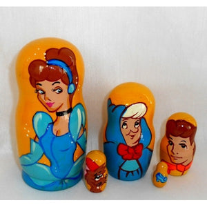 RUSSIAN DOLL CINDERELLA LGE 5PC YELLOW